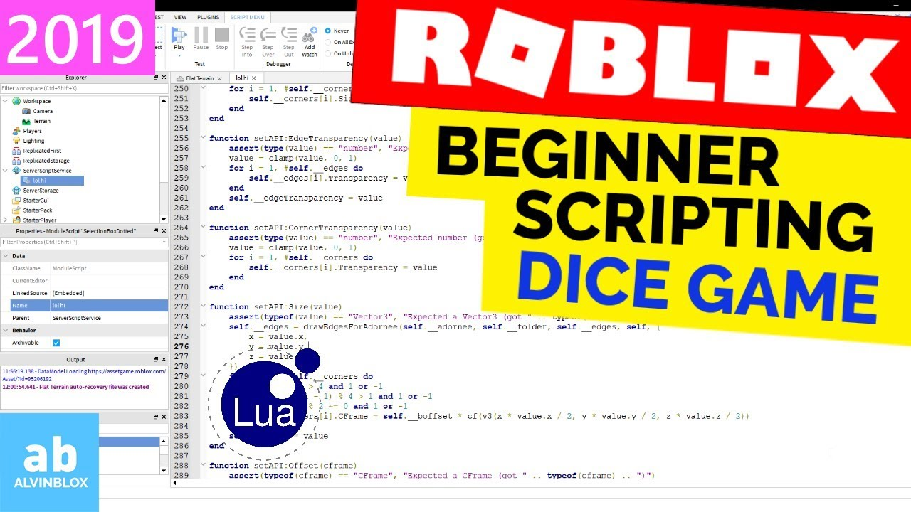 Beginner Roblox Scripting Tutorial 3 – Dice Game (Properties,Referencing Part 2]