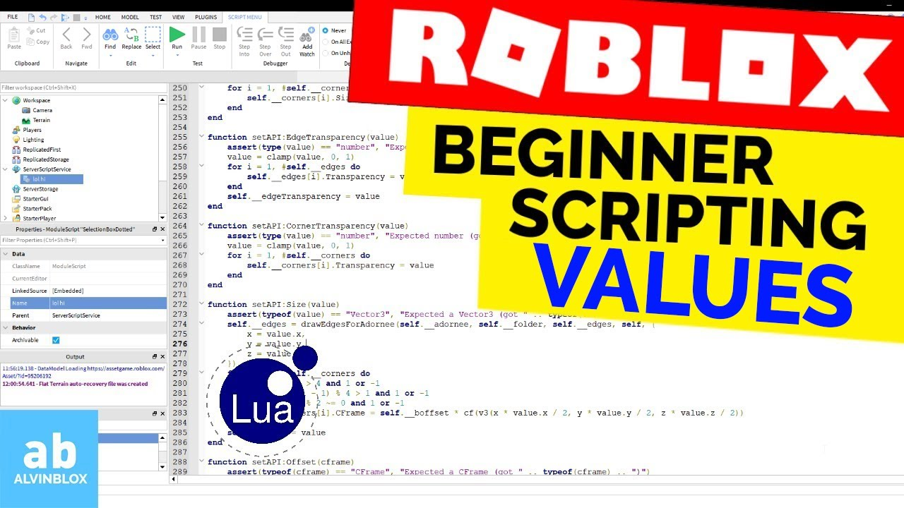 Values – Beginner Roblox Scripting – BoolValues, StringValues, IntValues, etc..